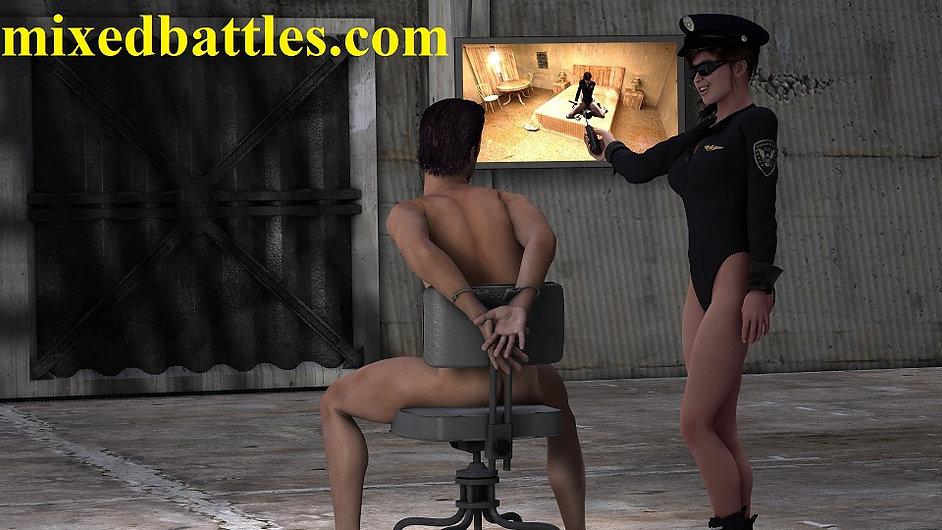 leotard cfnm policewoman femdom interrogation