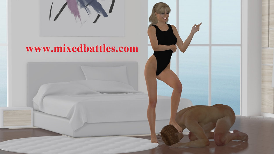 bedroom female domination clothed woman humiliates naked man