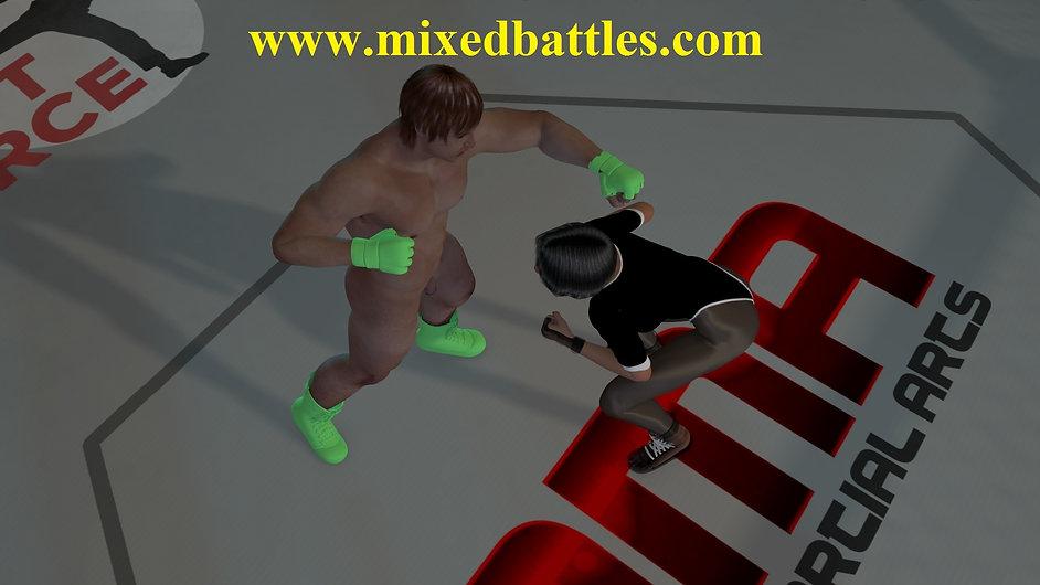 leotard clad girl vs naked man UFC cage ultimate femdom combat