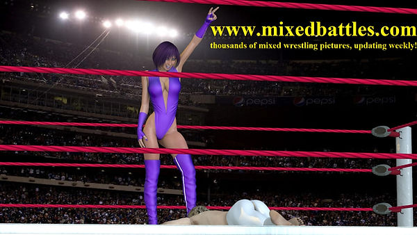 big breasts muscle woman high cut leotard victory pose fighting femdom