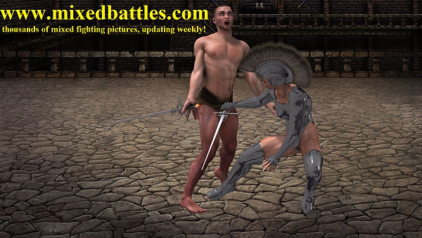 swordswoman ballbusting female vs male long swords fencing duel