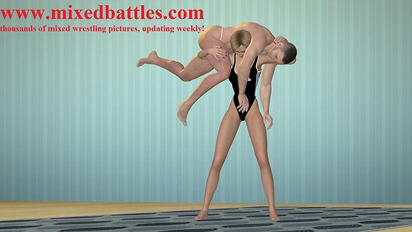woman vs man wrestling lift and carry aerobic femdom