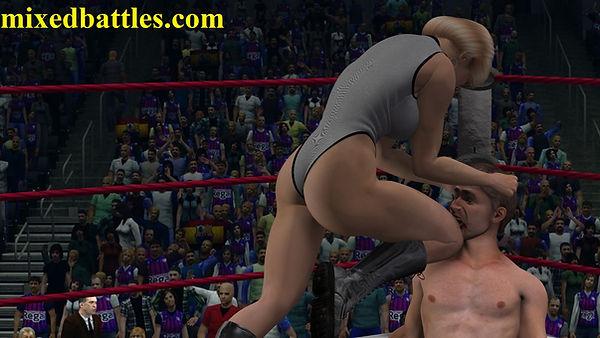 CFNM mixed wrestling femdom ballbusting fighting