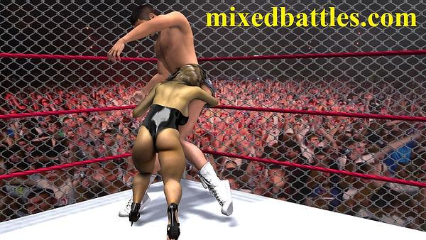 CFNM mixed wrestling leotard femdom fighting