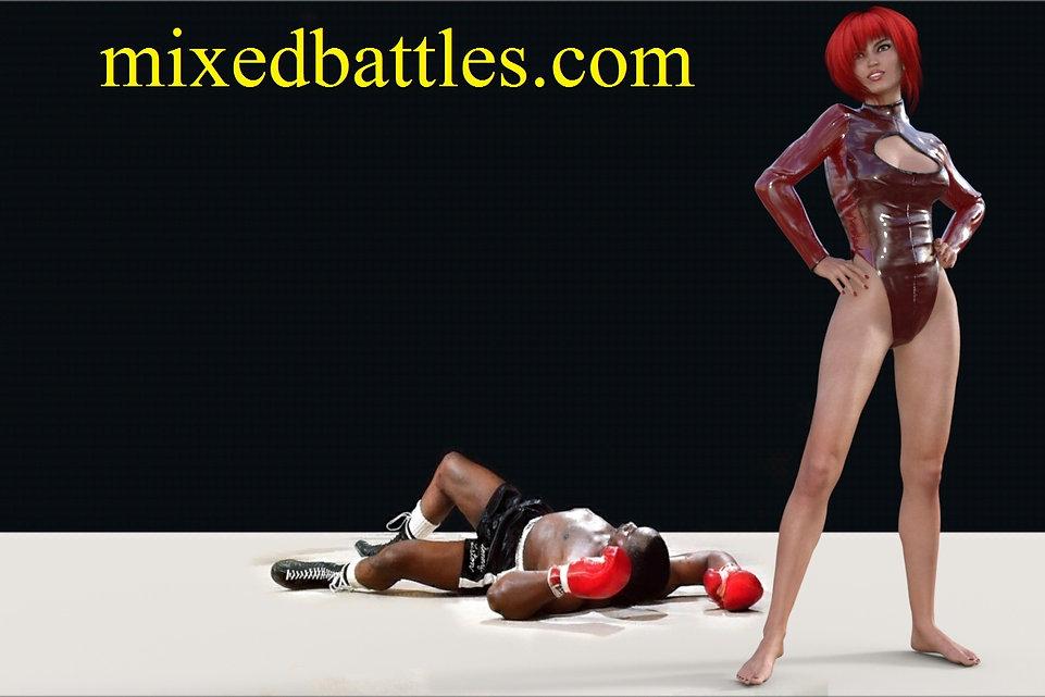 mixed wrestling ballbusting femdom girl victory pose
