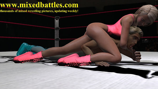 mixed wrestling girl on top straddle headlock thong leotard femdom fighting
