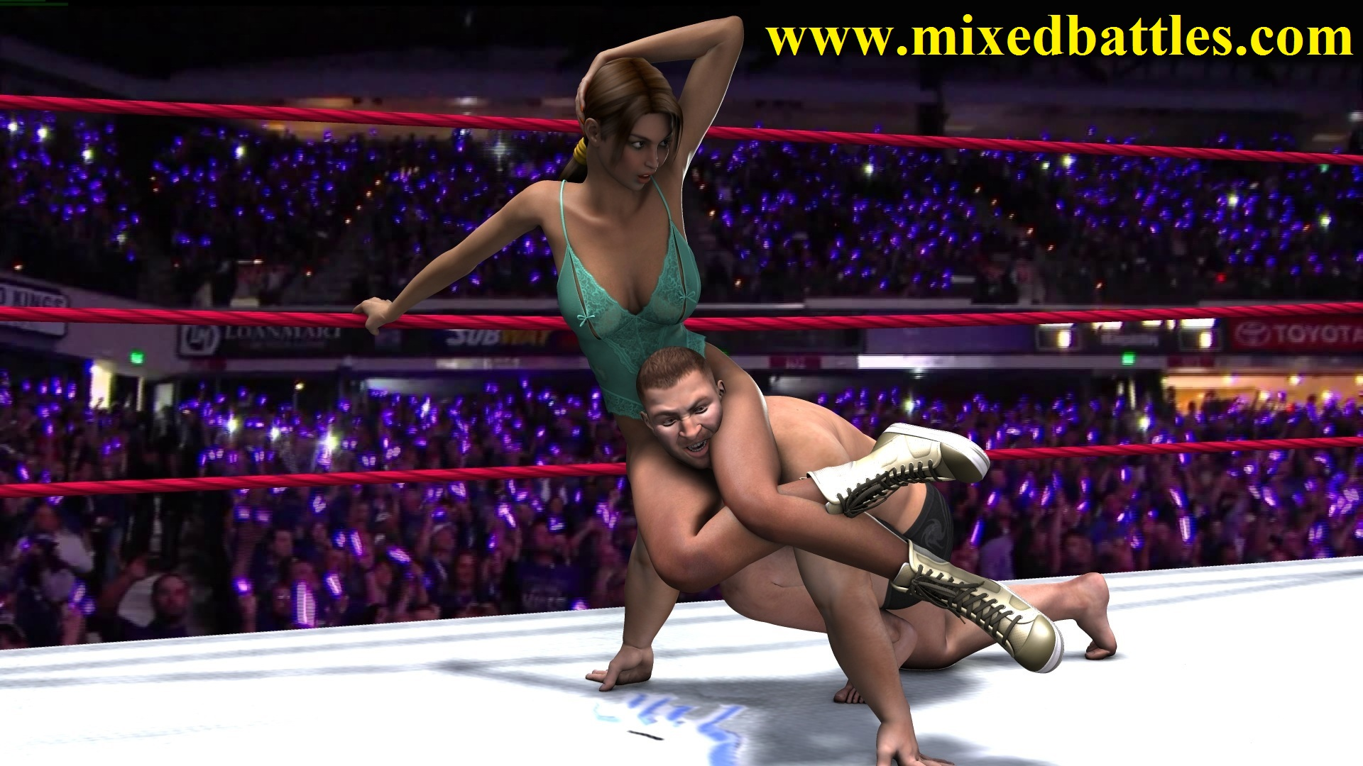 lara kroft mixed wrestling