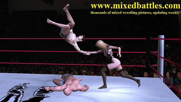 tag team mixed wrestling woman wins