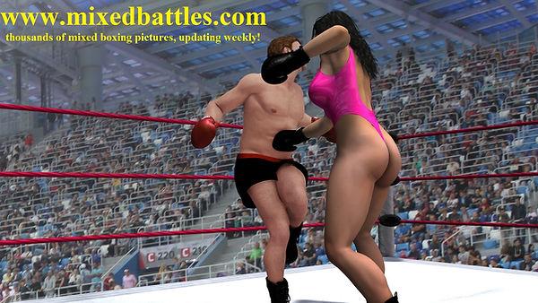 mixed boxing gut punching femdom fighting leotard girl beats man