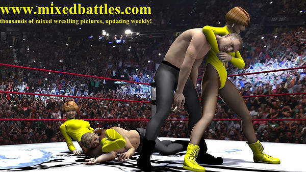 tag team mixed wrestling leotard femdom fighting women wins