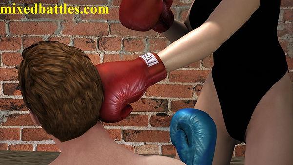 CFNM basement mixed boxing femdom leotard combat