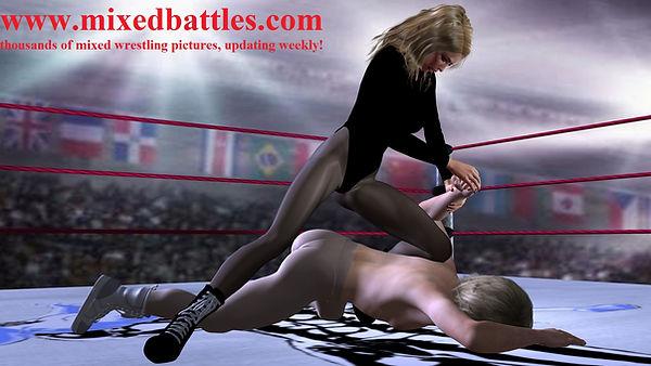 mixed wrestling woman on top armlock femdom fighting leotard