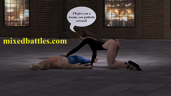mixed wrestling she squeezes his balls