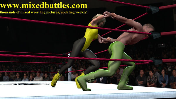 girl vs boy mixed wrestling femdom leotard pantyhose fight