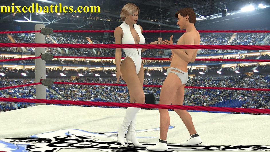 muscle woman wrestler vs weaker man in the ring