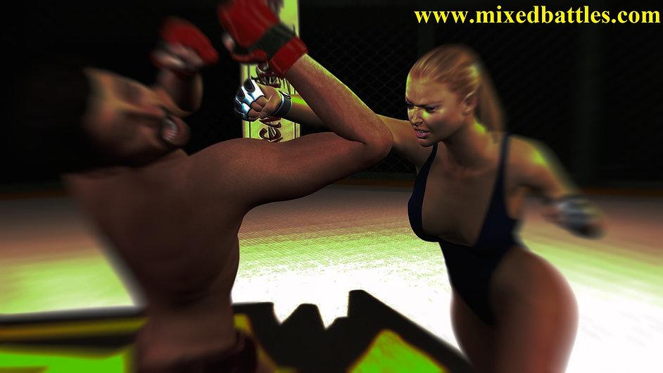 leotard woman vs nude man mixed boxing femdom