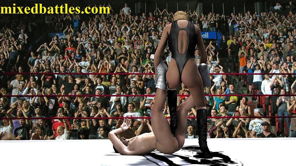 leotard femdom ballbusting mixed wrestling