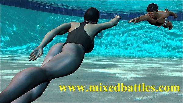 underwater woman vs man mixed wrestling in swimming pool girl drowning man