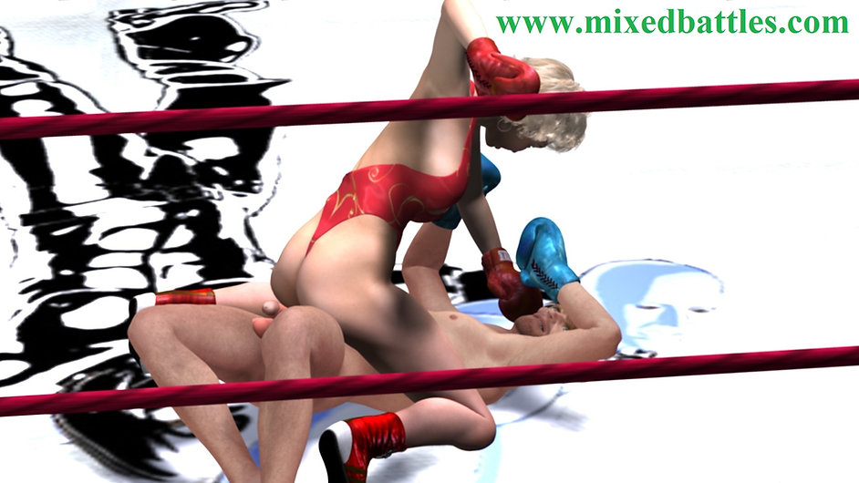 Leotard CFNM mixed boxing foreplay she straddled him