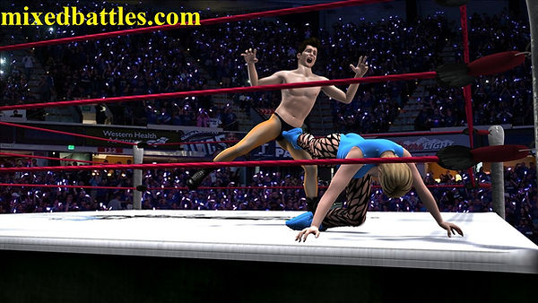 ballbusting mixed wrestling leotard femadom fighting