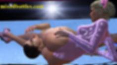 CFNM mixed wrestling headscissors gym leotard femdom fight