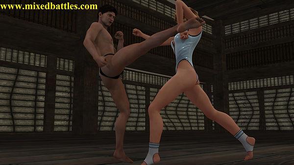 leotard karate femdom fighting woman vs man kungfu martial arts