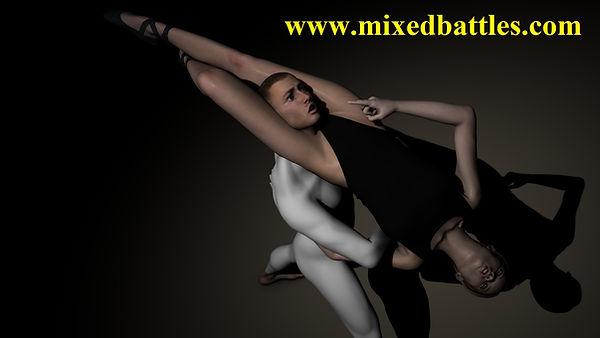 Ballet headscissors female domination mixed wrestling dance leotard