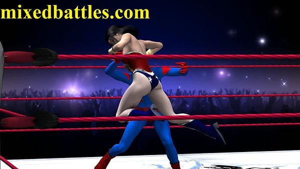 wonder woman vs superman mixed wrestling superheroes femdom fighting