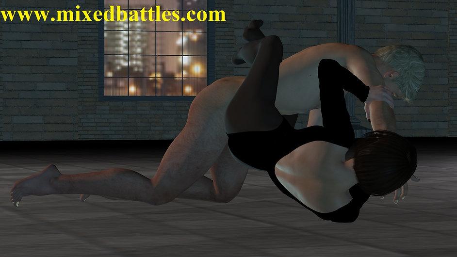 CFNM mixed wrestling bodyscissors ribs breaking femdom fighting