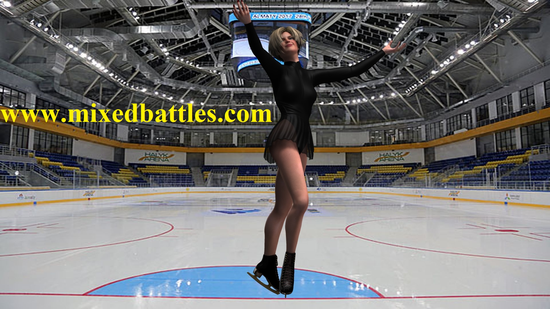 figure skater in black dress
