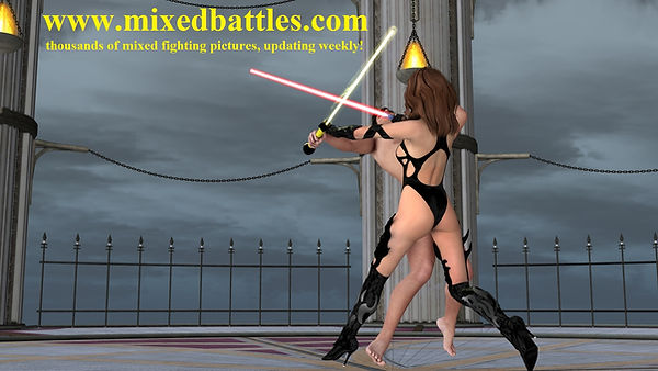 star wars CFNM femdom laser swords fighting nude jedi vs woman sith