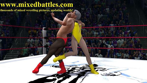 woman vs man fighting judo sweep mixed wrestling leotard femdom