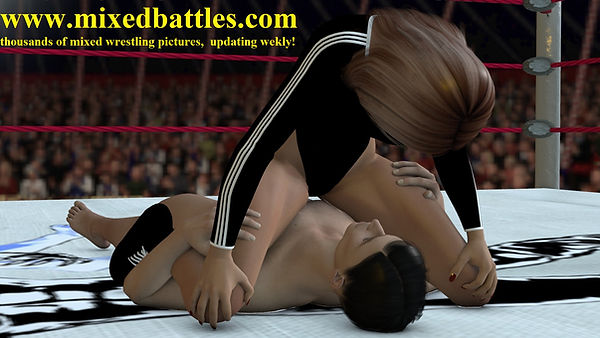 CFNM erotic mixed wrestling schoolgirl pin femdom fighting black adidas leotard