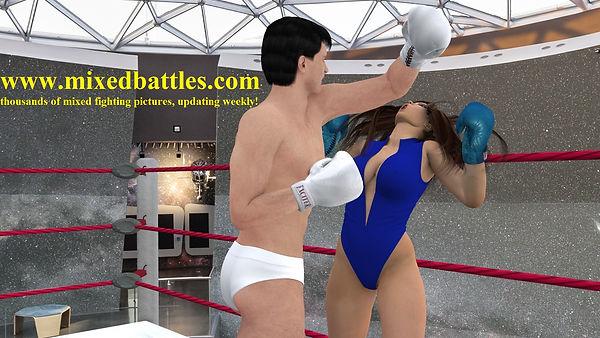 woman vs man boxing match