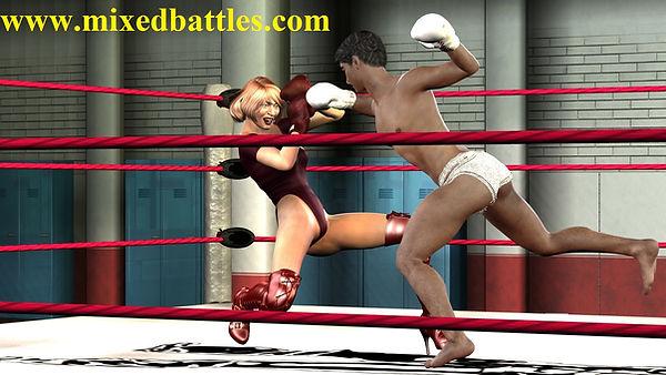 mixed boxing leotard woman vs man fight MMA ring femdom combat