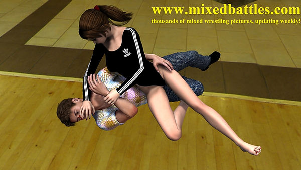 woman vs man aprtament mixed wrestling