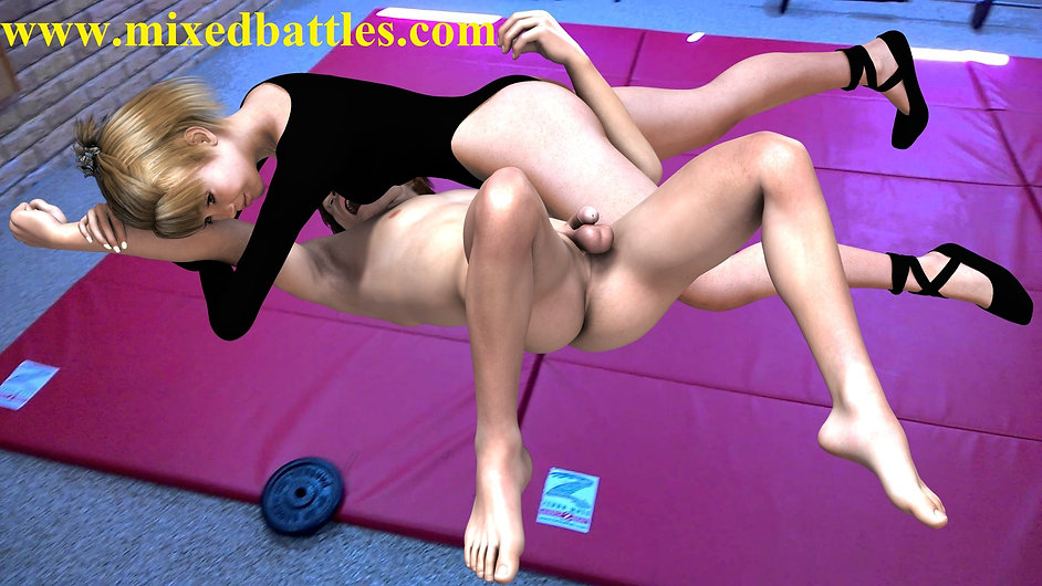 kids mixed wrestling leotard sister beats nude brother