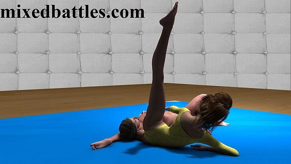 CFNM headscissors female domination leotard mixed wrestling