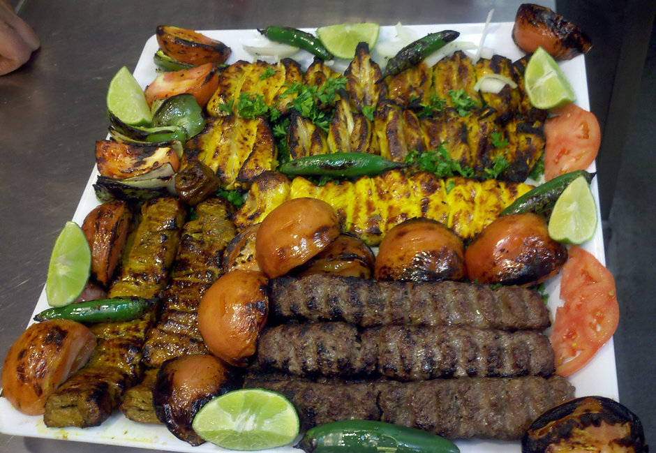 Chicken and Beef mixed Kebab Dish