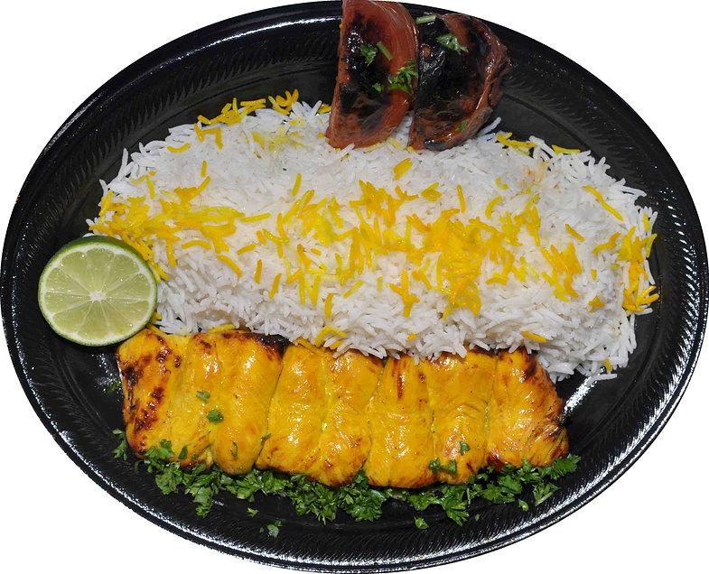 Plate of rice and Persian Kebab