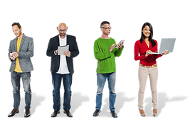 People holding deferent devices