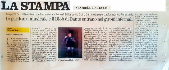 07 30 2021  LA STAMPA La partitura musicale e il Bolb di Dante  di Adriana Riccomagno2.jpg