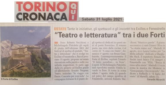 07 31 2021 TORINO CRONACA  Teatro e letteratura  di Gerardo Mirarchi.jpg