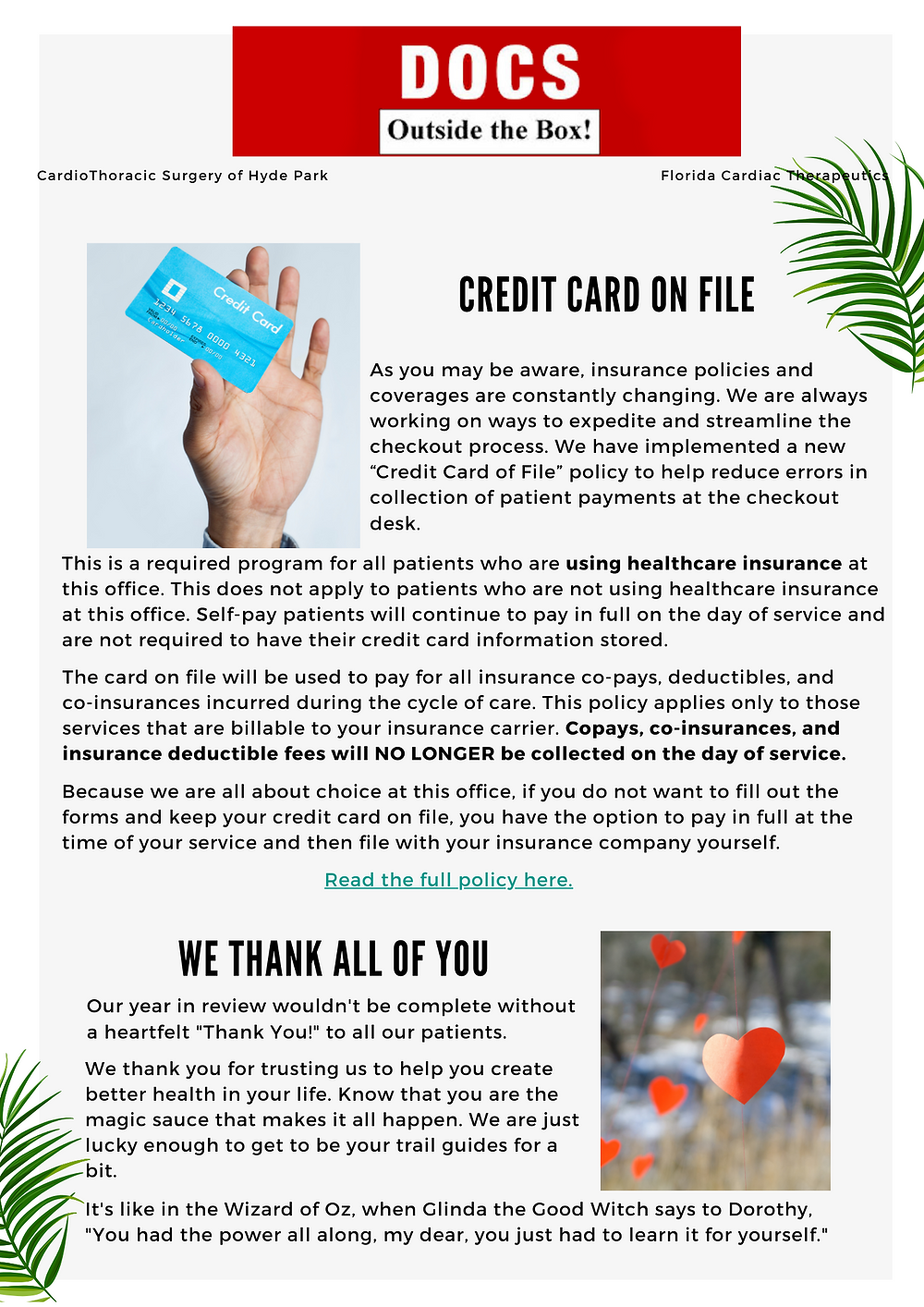Credit card on file policy and thank you to everyone for making what DOCS does possible.