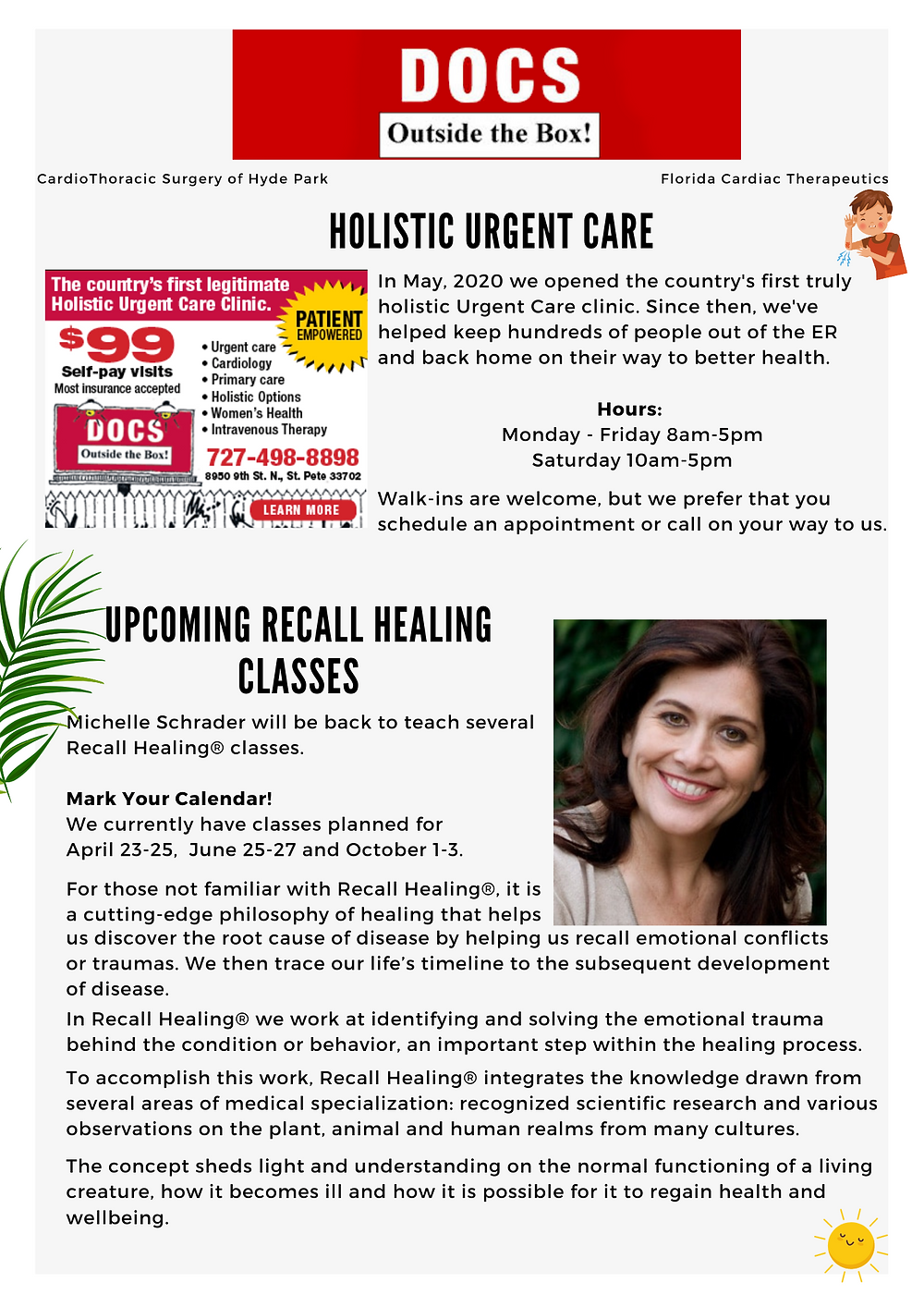 text about how we expanded our holistic urgent care clinic. Text about upcoming recall healing classes at DOCS