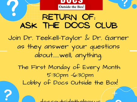 ASK THE DOCS CLUB RETURNS SEPTEMBER 14 AT 5:30PM