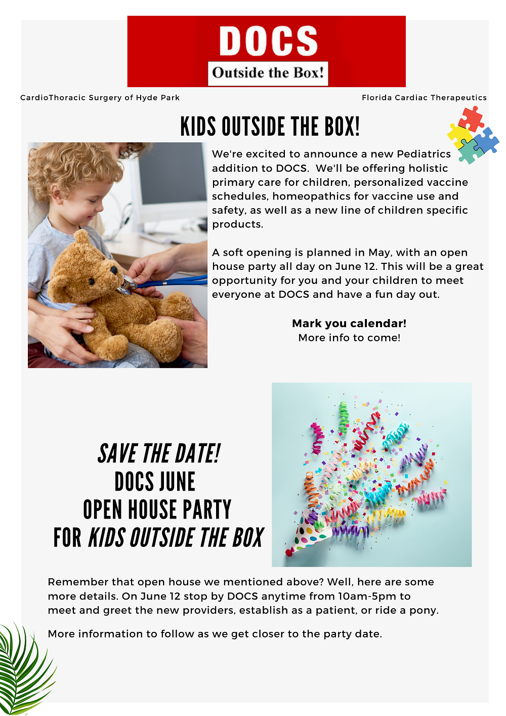 Text about DOCS opening a pediatrics unit in may with an open house party in June.