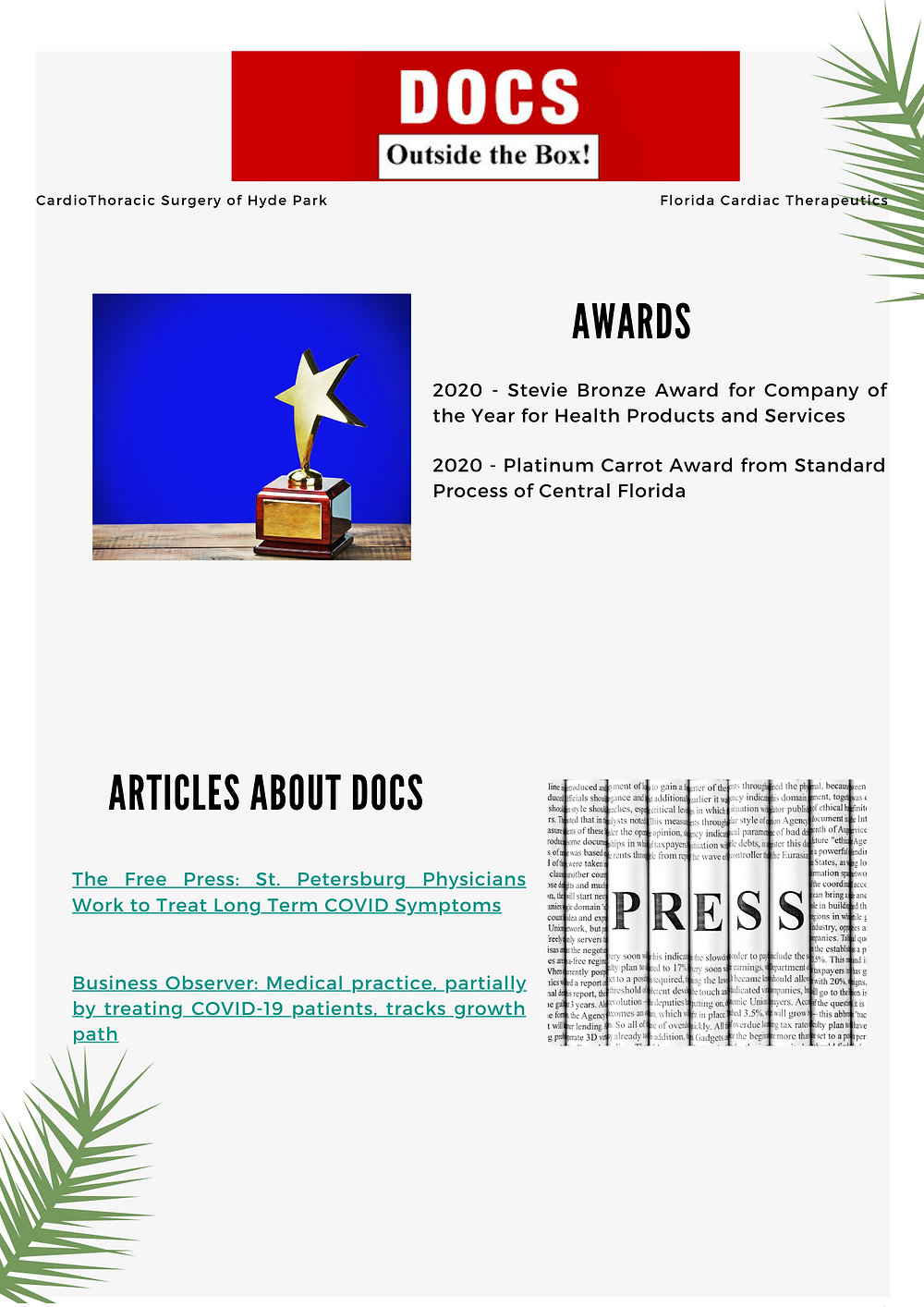Docs won two awards last year, and articles and mentions of DOCS  with links.