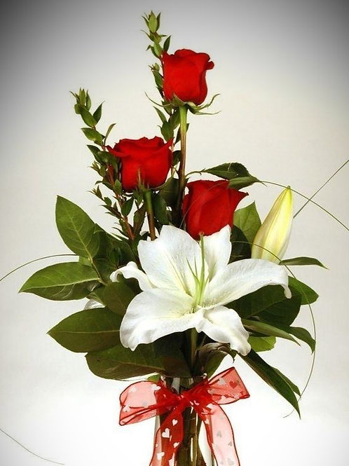 triple rose & lily vase