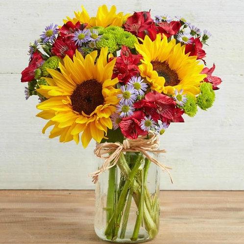 sunflower mason jar